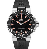 Oris Aquis Date Stainless Steel And Rubber Divers Watch Black