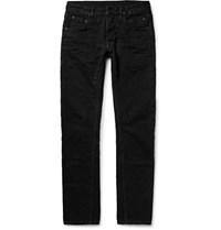 Rick Owens Drkshdw Detroit Slim Fit Seam Detailed Slub Denim Jeans Black