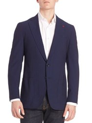Isaia Tonal Striped Silk Blend Blazer Dark Blue