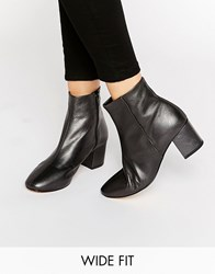 Dune Wide Fit Pebble Pewter Leather Heeled Ankle Boots Pewter Leather Silver