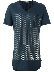 Tom Rebl Foil Print T Shirt Blue