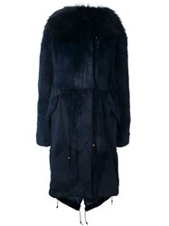 Furs66 Hooded Fur Trim Parka Blue
