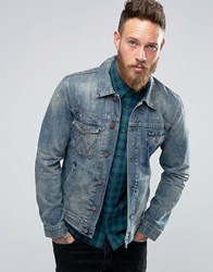 Wrangler Ripped Denim Jacket Blue