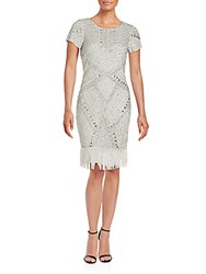 Aidan Mattox Beaded Fringe Sheath Dress Silver