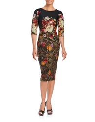 Gabby Skye Floral Printed Sheath Dress Black Multi
