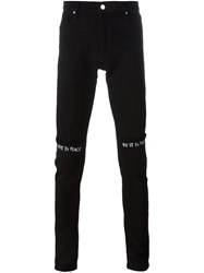 Road To Awe Distressed Printed Knee Jeans Black