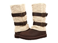 Ugg Cassidee Tall Chocolate Leather Knit Women's Boots Brown