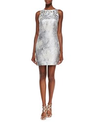 Phoebe Couture Sleeveless Metallic Dress W Beaded Yoke White