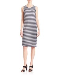 Pauw Sleeveless Striped Shift Dress Grey Navy