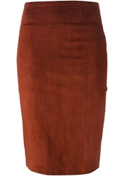 Stouls Midi Pencil Skirt Brown