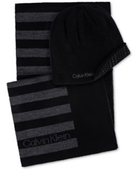 Calvin Klein Men's Hat And Scarf Set Black