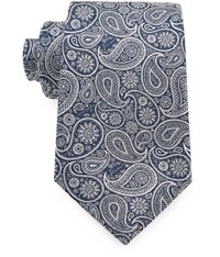 Austin Reed 8Cm Navy And Ivory Paisley Silk Tie