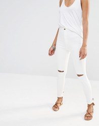 Missguided Vice High Waisted Slash Knee Skinny Jean White