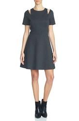 1.State Women's Shoulder Cutout Fit And Flare Dress Dark Heather Grey