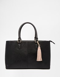 Asos Tote Bag With Removable Tassel Black