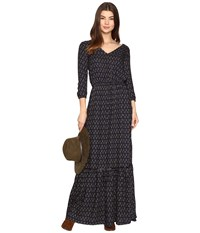 Bb Dakota Sibyl Printed Rayon Crepe Maxi Dress Navy Women's Dress