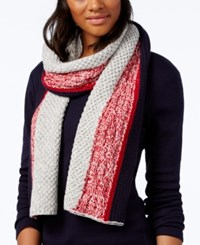 Tommy Hilfiger Marled Striped Scarf Only At Macy's Chili Pepper