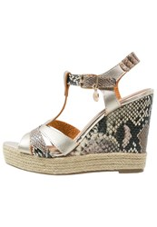 Xti Wedge Sandals Metalized Oro Gold