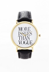 Forever 21 Faux Leather Statement Watch Gold Black