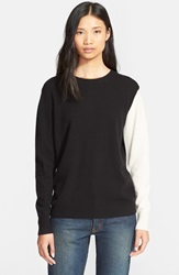 6397 Contrast Sleeve Crewneck Cashmere Sweater Black White