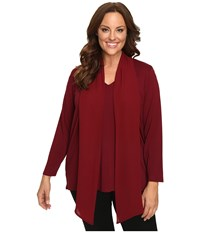 Vince Camuto Plus Size Long Sleeve High Low Hem V Neck Top With Woven Scarf Malbec Red Women's Clothing Burgundy