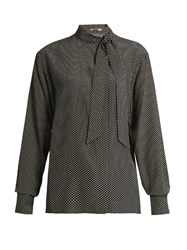 Bottega Veneta Brick Print Silk Crepe Blouse Black Multi