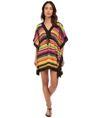 Lauren Ralph Lauren Sunset Stripe Sydney Tunic Cover Up Black Women's Swimwear