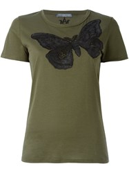 Alexander Mcqueen Embroidered Skull Moth T Shirt Green