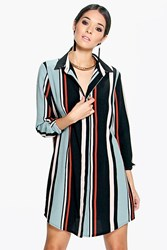 Boohoo Long Sleeve Stripe Shirt Dress Multi
