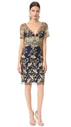 Marchesa Embroidered Tulle Dress Navy