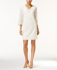 Styleandco. Style Co. Petite Lace Lace Up Sheath Dress Only At Macy's Warm Ivory