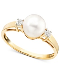 Macy's 14K Gold Ring Cultured Freshwater Pearl And Diamond Accent Black
