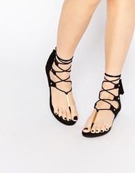 Aldo Jakki Black Gladiator Tassel Flat Sandals Black