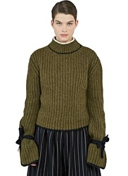 J.W.Anderson Elongated Tie Sleeve Sweater Green