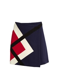 Msgm Wrap Front Wool Blend Mini Skirt Navy Multi
