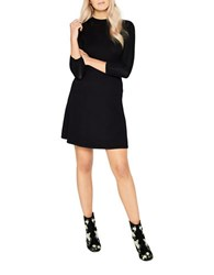 Miss Selfridge Three Quarter Sleeve Fit And Flare Pointelle Dress Black