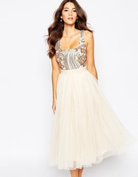 Little Mistress Sequin Midi Dress With Tulle Skirt Cream
