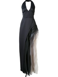 Halston Heritage Ruffled Gown Black