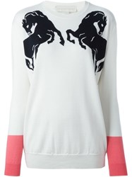 Stella Mccartney 'Horse' Crew Neck Sweater White