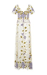 Luisa Beccaria Cornely Violet Embroidered Tulle Dress Ivory