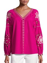 Tory Burch Therese Cotton Embroidered Tunic Hibiscus Flower