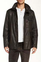 John Varvatos Coated Linen Zip Front Jacket Brown