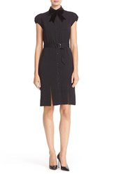 Alice Olivia Women's Carie Belted Multi Slit Shirtdress With Bow Tie