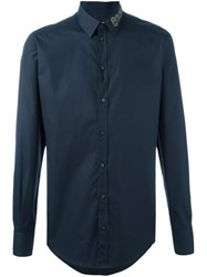 Dolce And Gabbana Embellished Collar Shirt Blue