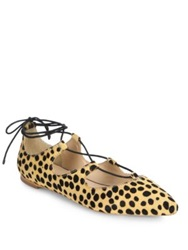 Loeffler Randall Ambra Lace Up Cheetah Print Calf Hair Flats