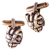 Cartography Grenade Heart Cufflinks Brass