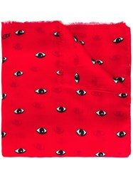 Kenzo 'Eyes' Scarf Red