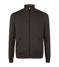 Corneliani Square Textured Zip Up Knit Jacket Male Brown