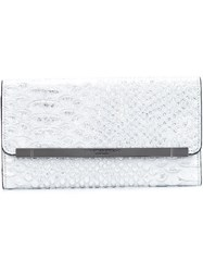 Christian Siriano Snakeskin Effect Flap Clutch Metallic