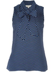 Michael Michael Kors Dotted Print Pussy Bow Top Blue